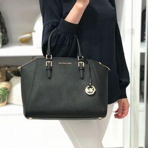Michael Kors Ciara Large Leather Black Satchel